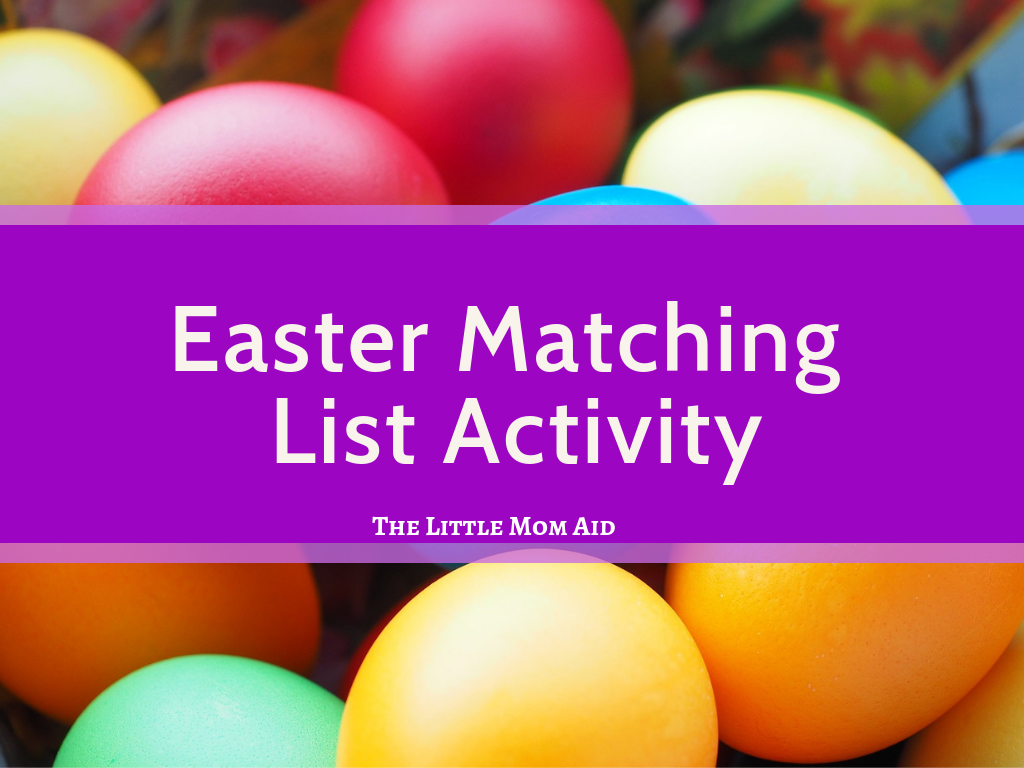 Easter Worksheet, Easter Matching List Activity, Easter Matching List activity for preschoolers