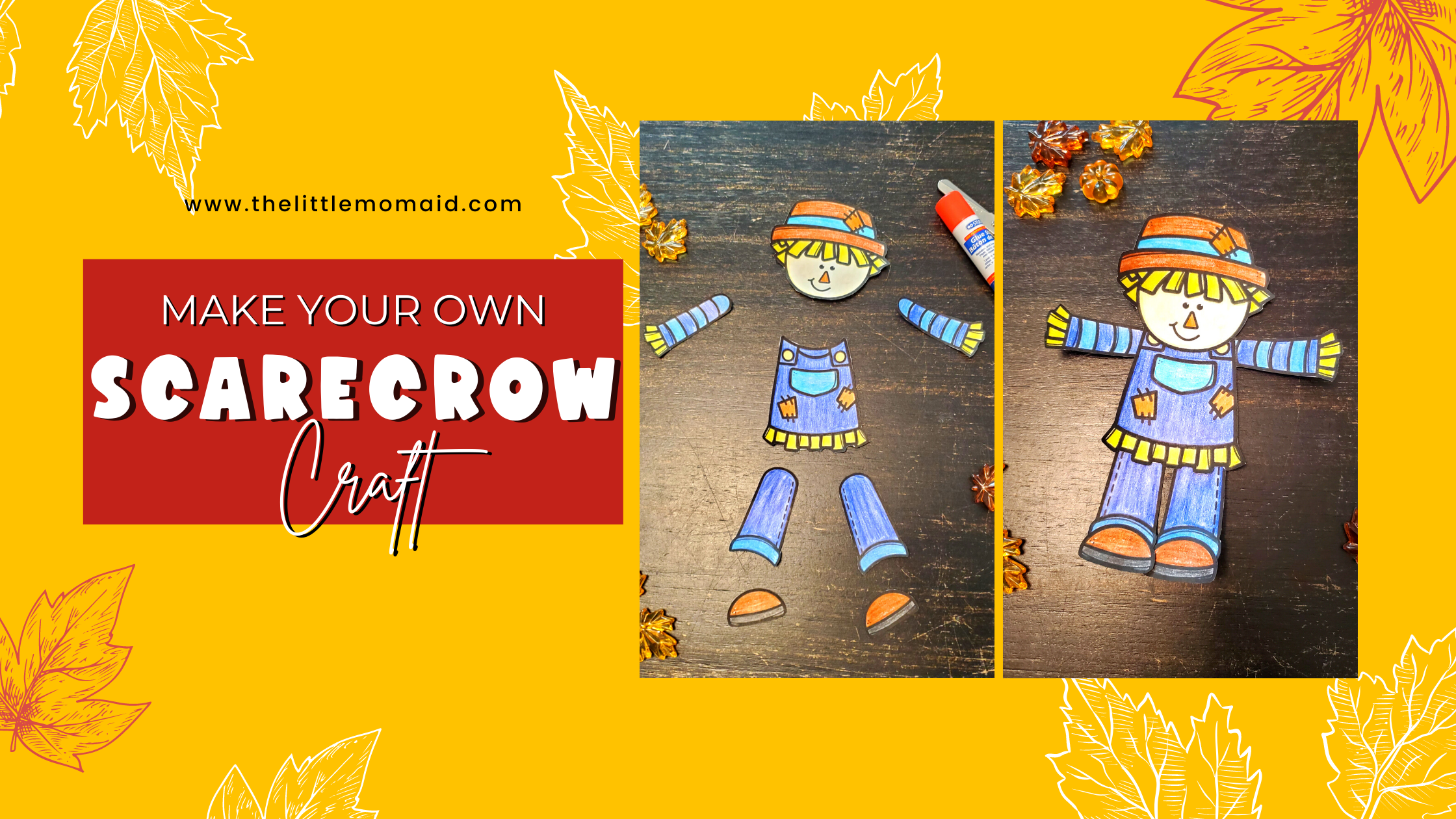 Cut and Paste scarecrow craft is a fun fall activity for kids of all ages. Simply print, color, cut and glue.