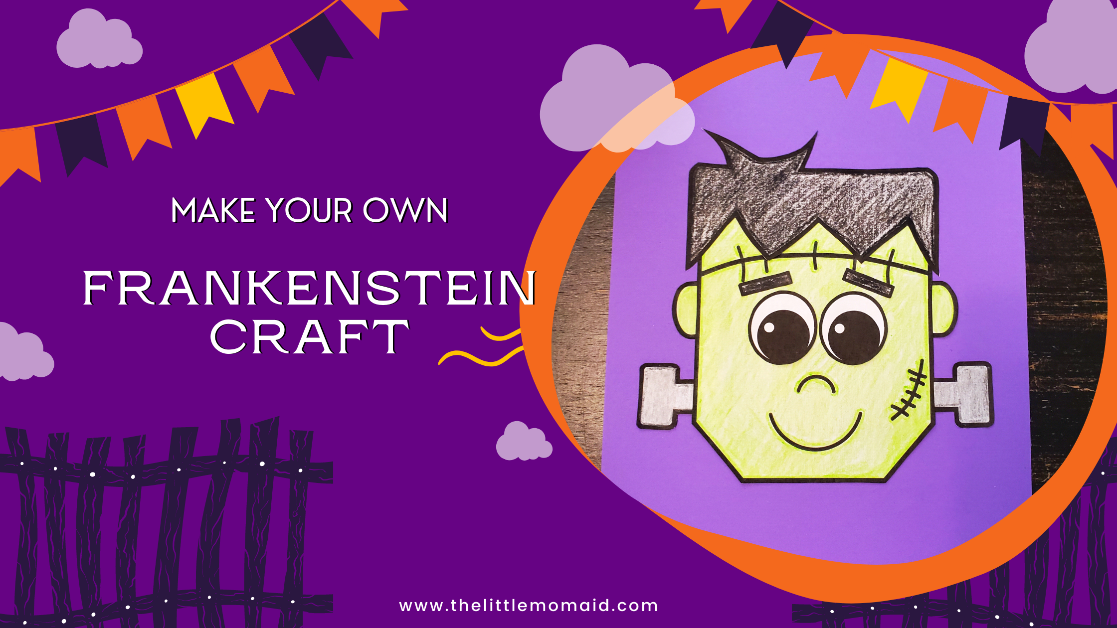 A simple and fun Halloween craft.This Frankenstein Craft comes with a free printable template. Preschoolers and kindergarteners will be able to practice their cutting skills.